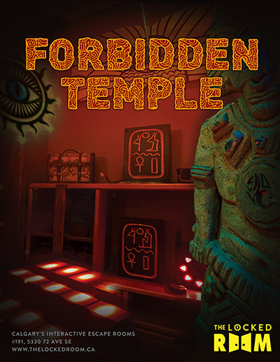 Poster for the Forbidden Temple Locked Room Located at the Calgary SE Branch