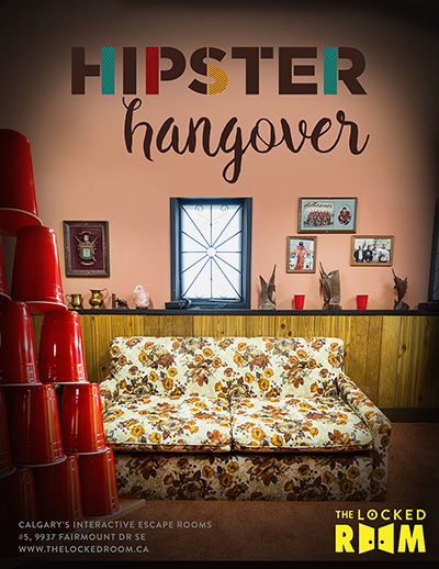 Poster for the Hipster Hangover Locked Room Located at the Calgary Southland Branch