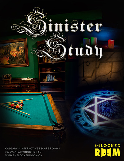 Poster for The Sinister Study Locked Room Located at the Calgary Southland Branch