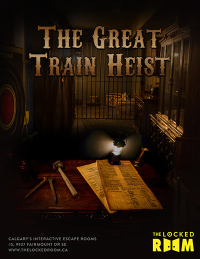 Poster for The Great Train Heist Locked Room Located at the Calgary Southland Branch