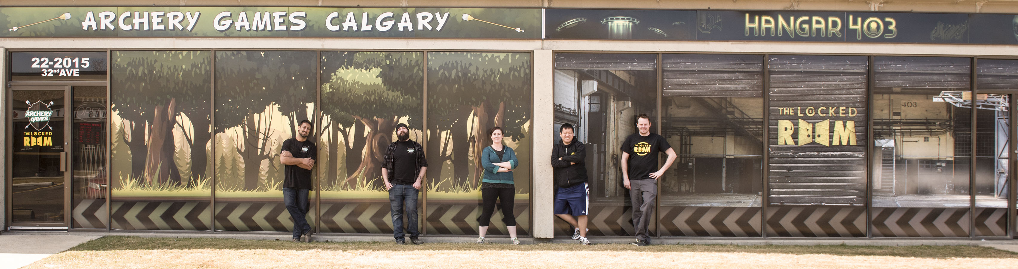 Hangar 403 & Archery Games Calgary outside photo with staff